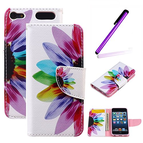 LEECO iPod Touch 5 6th Case,Fashion Synthetic PU Leather Wallet Type Magnet Design Flip Stand Case Cover for Apple iPod Touch 5 6th Generation + Send 1 Stylus Pen(Colorful Flower) ()