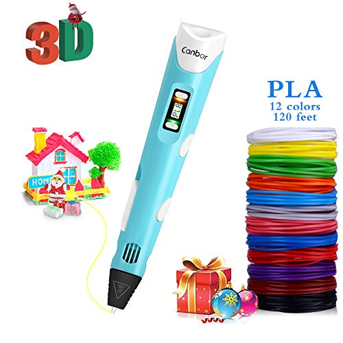Canbor 3D Pen with PLA Filament Refills, 3D Printing Drawing Printer Pen for Kids and Adults, Compatible with PLA ABS Filament, 12 Colors 120 Feet PLA Filaments Included, Light Blue