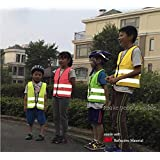 Tofern High Visibility High Viz Adjustable children Pupils Junior Senior student reflective safety vest for Running Cycling Walking Skating Skiing Skateboarding - Fits 3~18 yrs