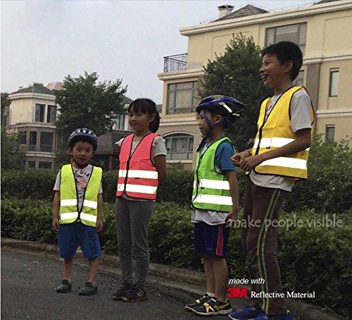 Tofern High Visibility High Viz Adjustable Children Pupils Junior Senior Student Reflective Safety Vest for Running Cycling Walking Skating Skiing Skateboarding