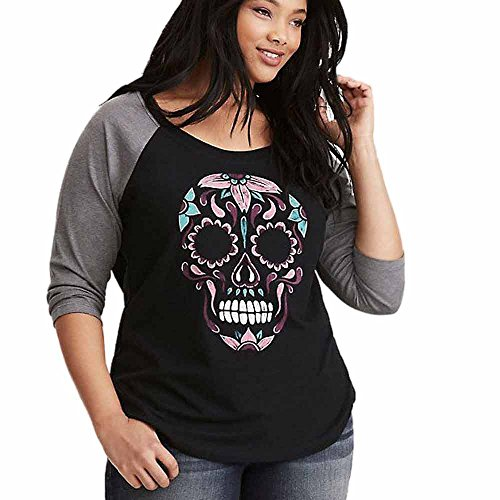 Skull Womens Tee - ILUCI Women Shirts Skull Printed O-Neck Long Sleeve Raglan Patchwork Baseball Tee Casual Print Blouse Fashion Tops (XXL)
