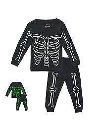 Enfants Chéris Toddler Boys Skeleton PJs Snug Fit Cotton Halloween Pajamas Set Kids Glow in The Dark Sleepwear