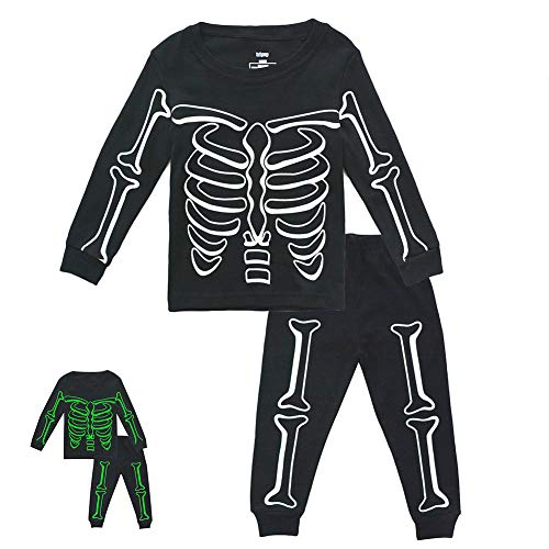 Toddler Boys Skeleton PJs Snug Fit Cotton Halloween Pajamas Set Kids Glow in The Dark Sleepwear, 7T