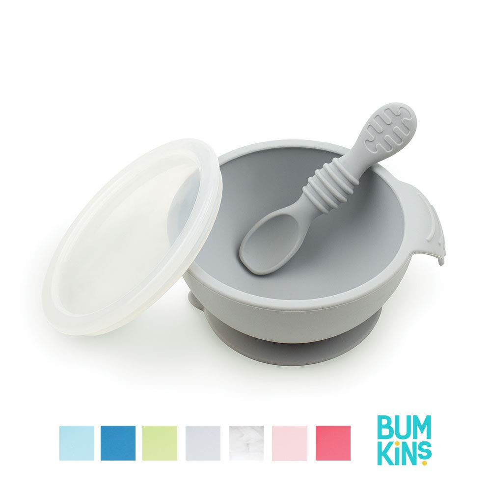 Bumkins Suction Silicone Baby Feeding Set, Bowl, Lid, Spoon, BPA-Free, First Feeding, Baby Led Weaning - Gray by Bumkins