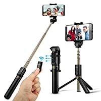 BlitzWolf Bluetooth Selfie Stick Tripod with Wireless Remote for iPhone x 8 7 6 plus Android Samsung Galaxy S9 S8 Plus Edge 3 in 1 Mini Pocket Extendable Monopod Aluminum Alloy 360 Degree Rotation