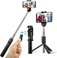 Wireless Selfie Stick Tripod with Remote for iphoneX 6 6s 7 8 plus Android Samsung Galaxy S7 S8 Plus Edge BlitzWolf 3 in 1 Mini Pocket Extendable Monopod 3.0 Aluminum Alloy 360 Degree Rotation Best Gifts