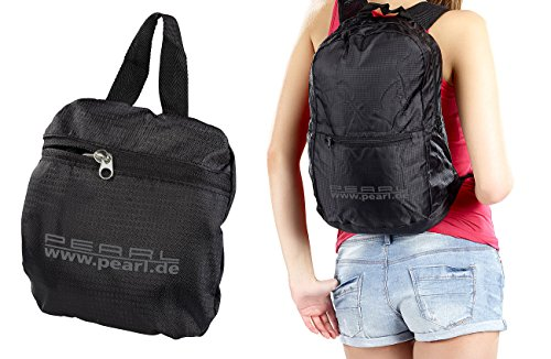 PEARL Faltrucksack: Faltbarer Rucksack, 15L, 160g, wasserabweisend beschichtet, schwarz (Not-Rucksack)