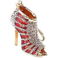 Yosoo Lady Gift Rhinestone Stiletto High Heel Shoe Crystal Blue Enamel Keychain Multicolor Enamel Keychain Gold