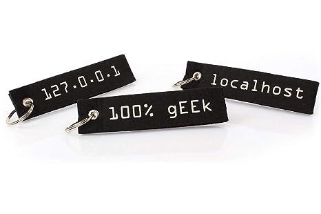 Llavero de fieltro para frikis, nerds y fanáticos de la informática (gadget y regalo), 3 unidades (Negro) - LX1705