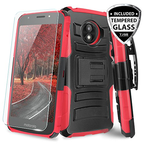 TJS Motorola Moto E5 Play / E5 Cruise/E Play 5th Gen Case, with [Tempered Glass Screen Protector] Belt Clip Holster Dual Layer Hybrid Shock Absorbing Resist Kickstand Armor Phone Case (Red/Black)