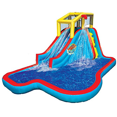 Spring & Summer Toys Banzai Slide 'N Soak Splash Park Constant Air Water Slide (Nearly 8ft Tall and Includes Blower Motor) Water Park Slide Splash
