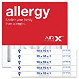 AIRx Filters Allergy 10x10x1 Air Filter MERV 11 AC Furnace Pleated Air Filter Replacement Box of 6, Made in the USA