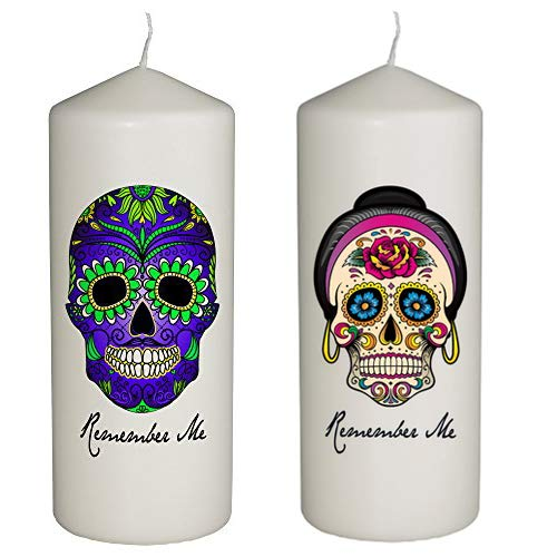 Hat Shark Remember Me Celebration Candle Day The Dead Set Two Candles Blue Green Skull Pink Rose Skull - Dia De Los Muertos - Printed in Full Color 6 Inches Tall