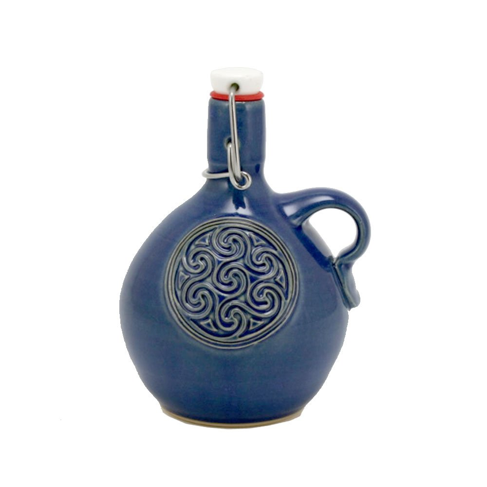 Beer Saver Mini Growler with Celtic Triune emblem and Cobalt Blue Glaze