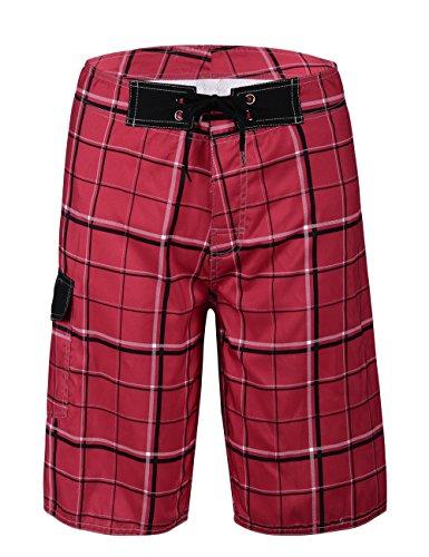 Red Plaid Pattern - Nonwe Men's Beachwear Quick Dry Plaid Pattern Swim Beach Shorts Red 32