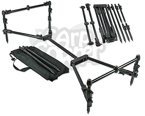 NGT Carp Fishing Nomadic Compact Black Rod Pod With Bank stick & Buzzer Bars includes Carry Case by NGT