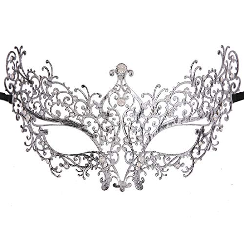 Xvevina Masquerade Mask for Women Shiny Glitter Venetian Pretty Party Evening Prom Mask (Ana Vintage Silver Clear Rhinestones)