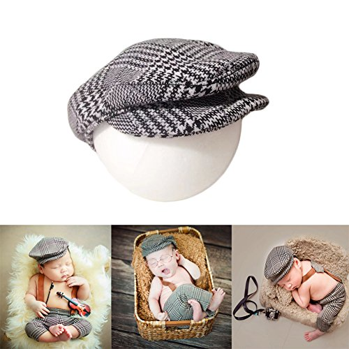Baby Photography Props Hats Newborn Boy Photo Shoot Flat Cap Monthly Gentleman Lattice Hat Infant Outfits (Black)