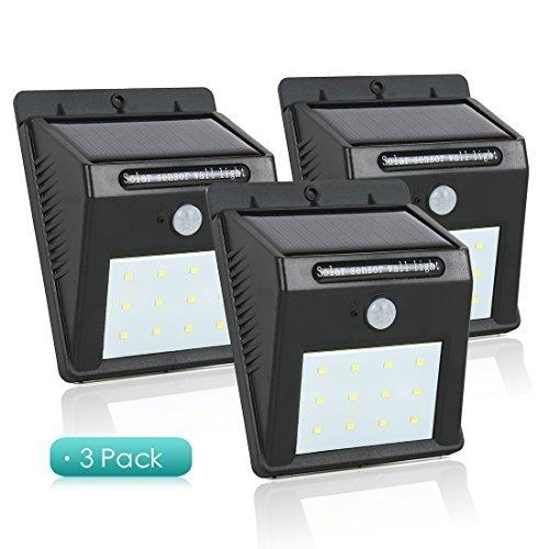 Sensore di luce solare eDealMax Movimento, 80 lumen 12 energia solare impermeabile del LED di sicurezza Night Lights, Garden Wall Spotlight -3 pacchetto