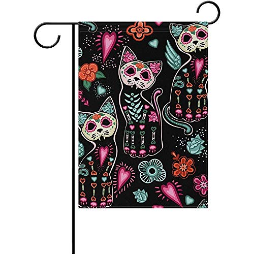 Sandayun88x Halloween Cats and Colorful Flowers Decorative Double Sided Garden Flag 12 x 18 inch ()