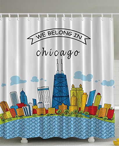 Chicago Skyline Cartoon Colorful City View Cityscape Personalized USA American Home and Apartment Decor Art Funny Quote Design Man Cave Decorations Shower Curtain, Blue White Red Yellow Mustard Green -