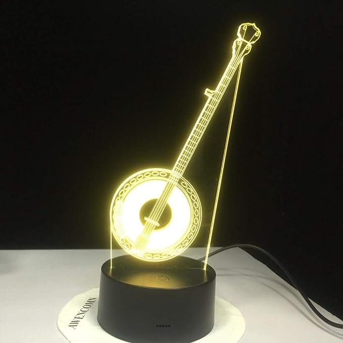 KangYD Lámpara de escritorio 3D de guitarra china, Luz de noche ...