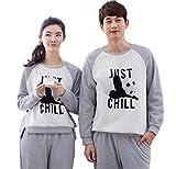 MINGXINTECH Couples Cotton Pajama Set Panda Pattern Home/Sports Wear Sleepwear