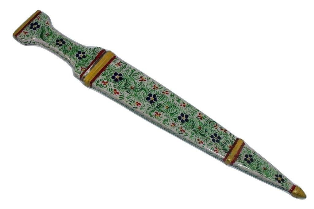 Rajasthan Gems Dagger knife Damascus steel blade Handmade Enamel Cloisonne on Handle Sheath 14'