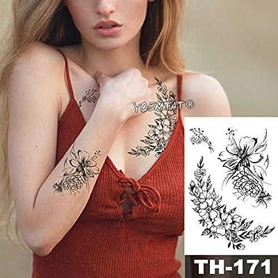 HXMAN 5 Unids Sketch Flor Flor Peonía Rosa Impermeable Tatuaje ...