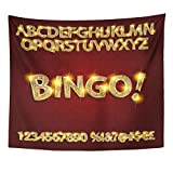 Emvency Tapestry Yellow Gold Bingo Golden Glowing Alphabet and Numbers on Dark for Your Graphic Design Letter Casino Home Decor Wall Hanging for Living Room Bedroom Dorm 50x60 inches