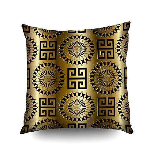 20x20 Inch Pillow Cover,Modern gold geometric seamless pattern Vector meander background 3d wallpaper with greek key black ornaments Ornamental floral design Abstract surface drapery texture with shad