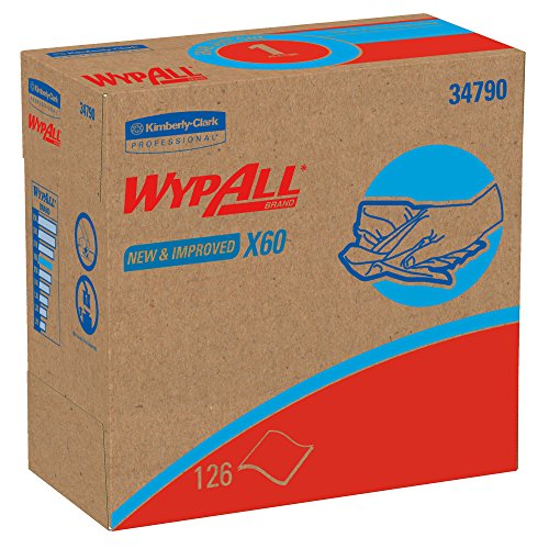 Wypall X60 Reusable Cloths (34790) in Convenient Pop-Up Box, White, 10 Boxes/Case, 126 Sheets/Box 60 Reinforced Wipers
