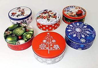 Amazon.com: Empty Winter Holiday Cookie Tins (Set of Six ...