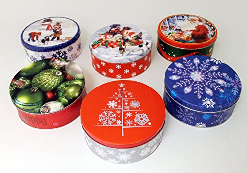 (Empty Winter Holiday Cookie Tins (Set of Six))
