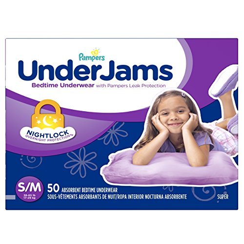 Pampers Underjams Bedtime Underwear Girls,Size Small/Medium Diapers, 50 Count