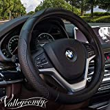 Valleycomfy Steering Wheel Covers Universal 15 inch - Genuine Leather, Breathable, Anti Slip & Odor Free (04-Black)