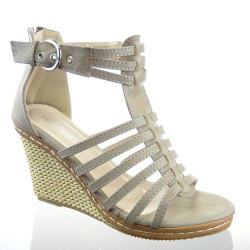 Kickly - Chaussure Mode Sandale Escarpin Plateforme cheville femmes corde Talon Compensé Plateforme 9.5 CM - Khaki