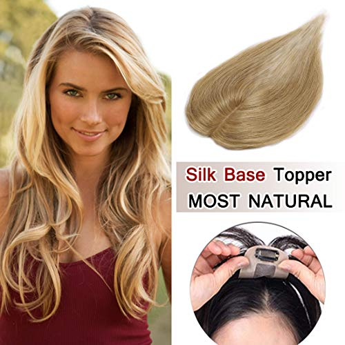 SEGO 100% Density Top Hair Pieces Silk Base Crown Topper Human Hair Clip in Hair Toppers Top Hairpieces for Women with Thinning Hair Gray Hair/Hair Loss #27 Dark Blonde 6 inches 15g