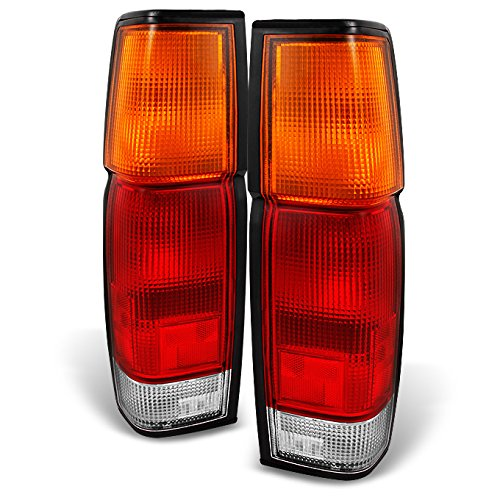 For Hardbody D21 Pickup Truck Red Amber Tail Lights Rear Brake Lamp Left + Right Replacement Pair Set