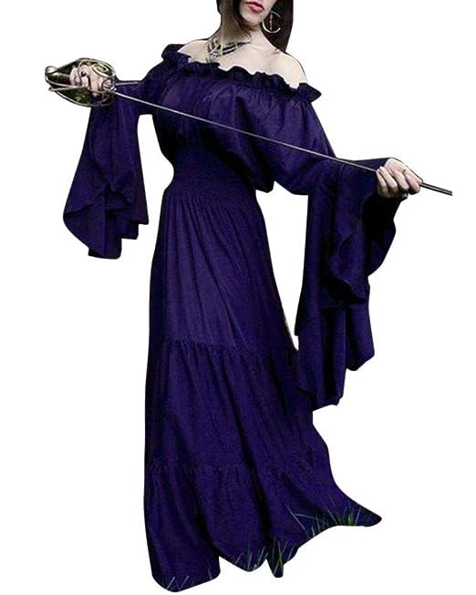 Mujer Traje Medieval Disfraz De Reina Princesa Medieval Vestido Gotico Vestido Sin Hombros con Manga De Llamarada: Amazon.es: Ropa y accesorios