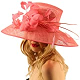 For a Queen Dome Sinamy Floral Spray Feathers Derby Floppy Dress Wide Hat Coral