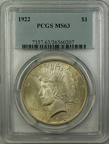 1922 Peace Silver Dollar Coin (ABR11-O) $1 MS-63 PCGS