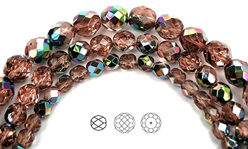 (10mm (41 beads) Rosaline Vitrail coated, Czech Fire Polished Round Faceted Glass Beads, 16 inch strand)