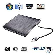 External DVD Drive USB 3.0 Ultra Portable External CD DVD Storage Drive, External DVD Writer/ Burner CD DVD RW DVD ROM Drive for Apple Macbook, Macbook Pro or other Laptop/Desktops