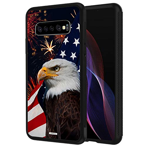 - Galaxy S10 Case,AIRWEE Slim Shockproof Silicone TPU Back Protective Cover Case for Samsung Galaxy S10 (2019) 6.1 inch,Bald Eagle American Flag