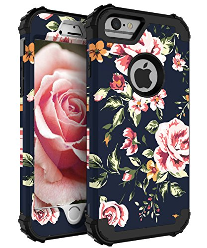 NabeCase Case for iPhone 7,Case for iPhone 8 Plus Hybrid Heavy Duty Shockproof 3 in 1 Layer Protective Cute Flowers for Girls/Women,Black