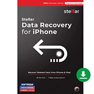 Stellar Data Recovery for iPhone Software   for Mac   Standard   Recover Deleted Photos, Videos, Contacts, Messages from Iphone & Ipad   3 Device, 1 Yr Subscription   Instant Download (Email Delivery)