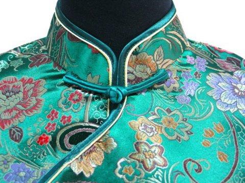 7Fairy Women's Vtg Green Ten Buttons Long Chinese Dress Cheongsam Size 4 US by 7Fairy (Image #2)