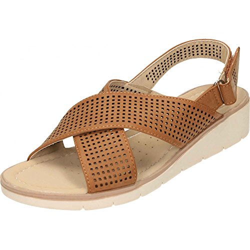 Dr Keller Wedge Heel Open Toe Cross Strap Sandals Tan