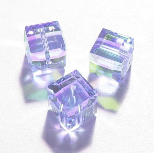 4 pcs Swarovski Crystal 5601 Cube Bead Spacer Tanzanite AB 6mm / Findings / Crystallized (Coating 5601 Cube)